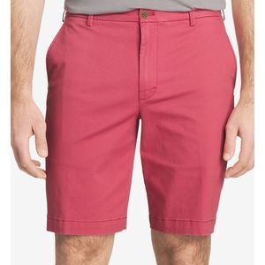 IZOD Saltwater Red Stretch Relaxed Flat Frnt Short